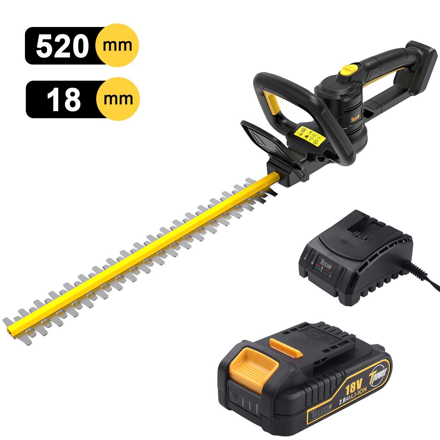 TECCPO Hedge Trimmer, 18V 2.0 Ah Cordless Hedge Trimmer, 520mm Blade Length, 18mm Tooth Opening, Dual Action Laser Blade, Triple Safety Start Button,with Charger and Battery - TDHT02G