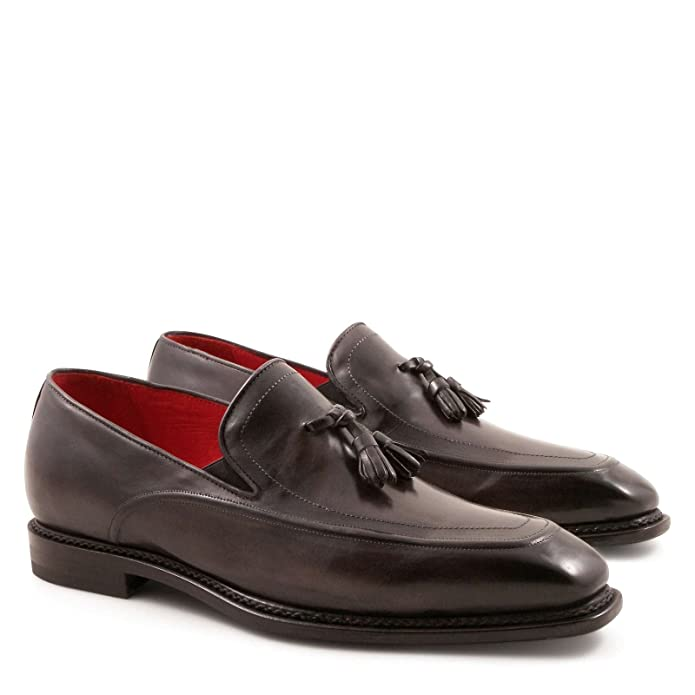 Men's 5206Grigio Grey Leather Loafers