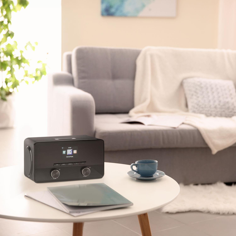 auna Connect 100 Radio de Internet /• 2 x 5 vatios Altavoz /• Se/ñal Digital /• Interfaz WLAN /• Streaming /• Bluetooth /• Puerto USB /• AUX /• Compatible MP3 /• Funci/ón Despertador /• Men/ú multil