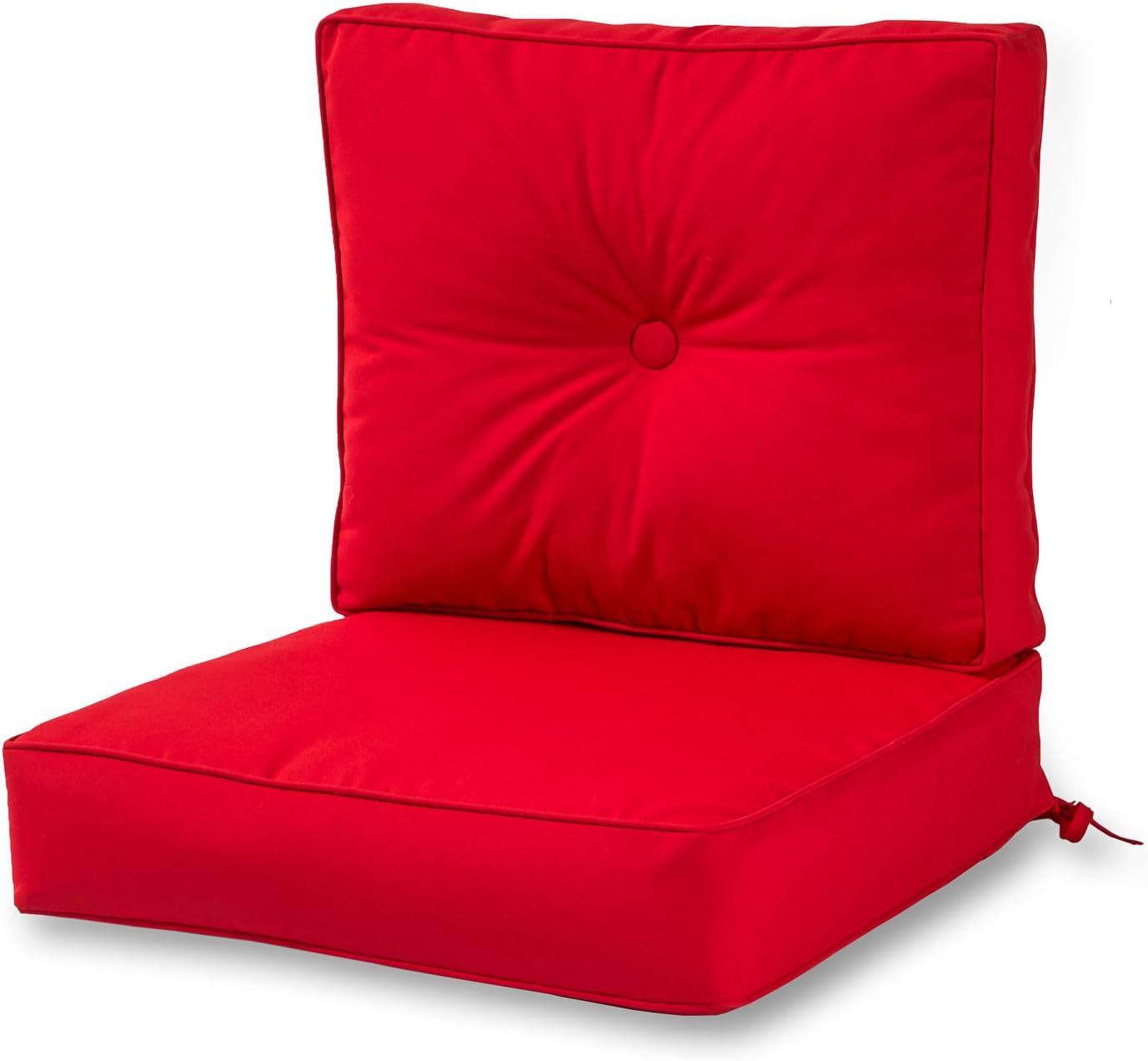 Greendale Home Fashions AZSC7830-JOCKEYRED Ruby Outdoor 2-Piece Sunbrella Fabric Deep Seat Cushion Set