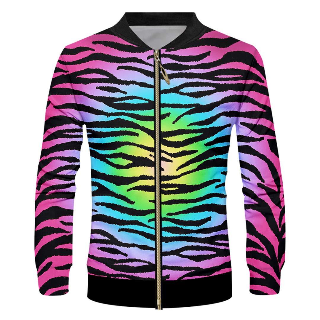 VHWSLWAS Leopard Print 3D Printed Medium and Long Section Casual Mens Zipper Coat