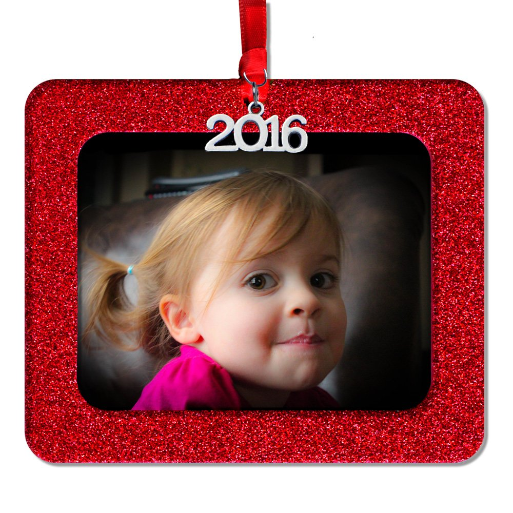 Expressly Yours! Photo Expressions 2016 Magnetic Glitter Christmas Photo Frame Ornaments, Horizontal - Red
