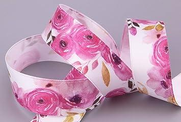 Dekoband WILDROSE 3 m x 25 mm Geschenkband Satinband Schleifenband Blumen Rosen