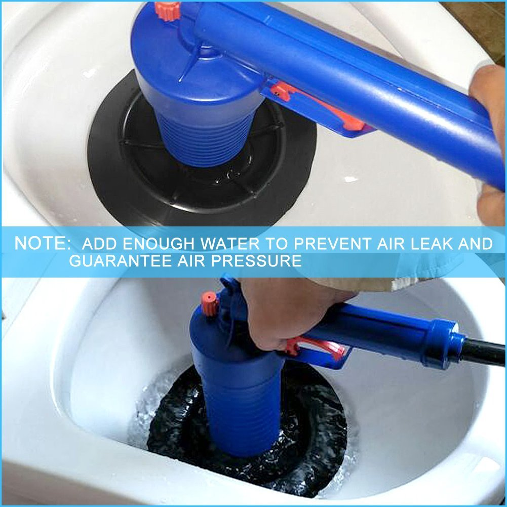 Drain blaster air Powered plunger gun, High Pressure Powerful Manual sink Plunger Opener cleaner pump for Bath Toilets, Bathroom, Shower, kitchen Clogged Pipe Bathtub (blue) by Storystore (Image #6)