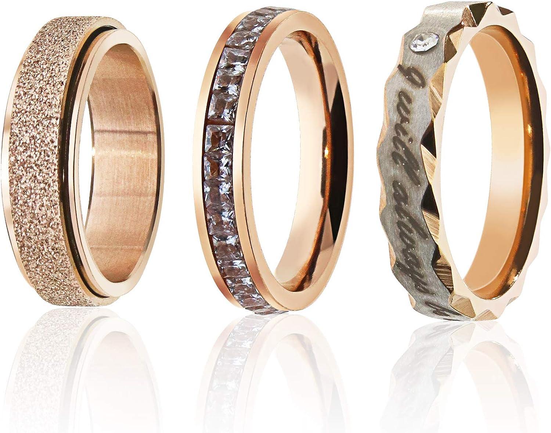 EMSea - Anillo de acero inoxidable para mujer, 3 unidades, color oro rosa, acabado arenado, anillo de diamante de una fila L-1/2 N-1/2 P-1/2