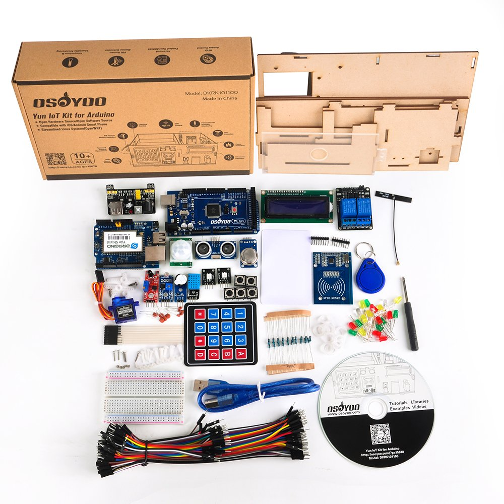 Osoyoo Yun Iot Kit For Arduino Smart Home Wooden Model E Plan Electrical Tutorial Diy Projects With Mega 2560 R3 Development Board Dragino Shield