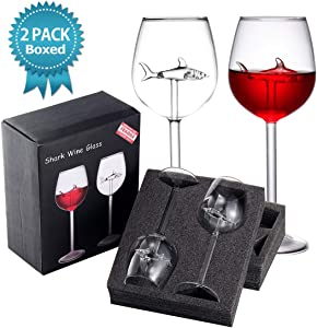 MISSYO 2 Packs Shark Wine Glasses 10 OZ Crystal Goblets Red Wine Glasses Novelty Great Gift Packaging for Women Men Wedding Anniversary Christmas Birthday Party