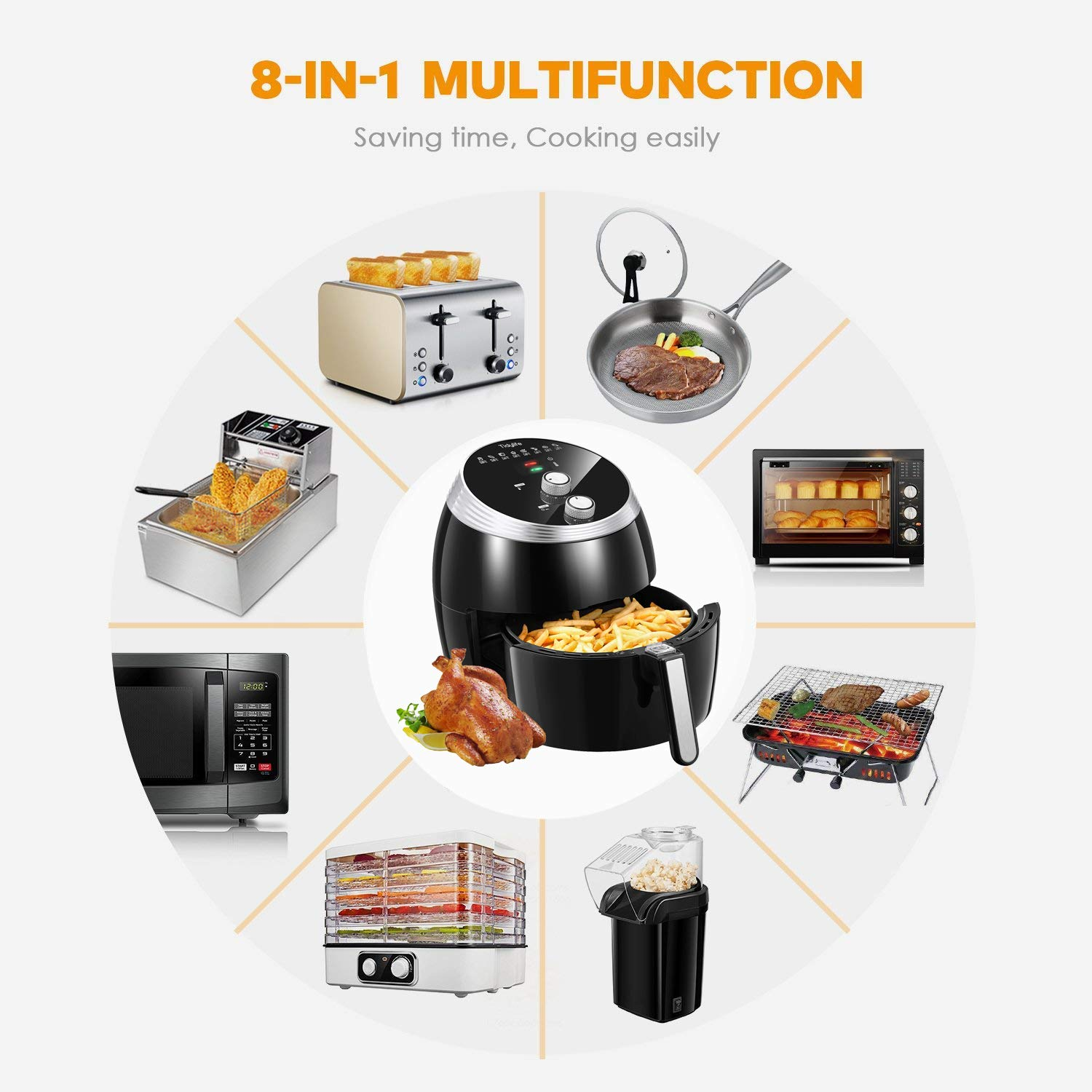 Air Fryer, Tidylife 6.3QT Large Air Fryer, 1700W Oilless XL Oven Cooker, Smart Time and Temperature Control, 7 Cooking Preset, 180-400℉Hot Air Fryer with Non-stick Basket, Auto Shut Off, 50+ Recipes by Tidylife (Image #2)