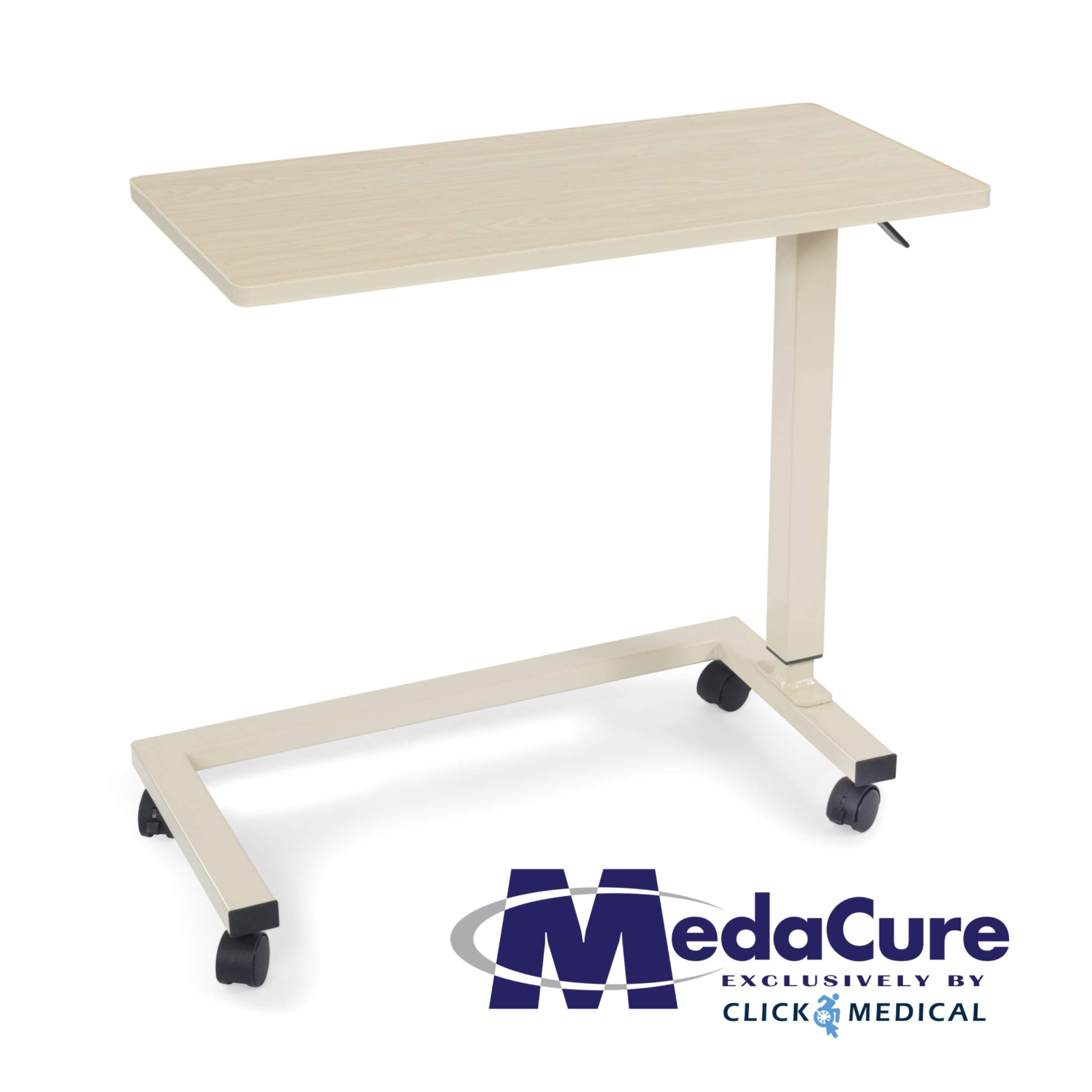 Medical Height Adjustable Overbed Table - Flame Resistant and Anti-Spill Rim - Heavy Duty Steel Frame and Swivel Locking Casters for Home, Hospital,Laptop, and Breakfast– 50lb Weight Capacity. (Oak) by Medacure (Image #7)