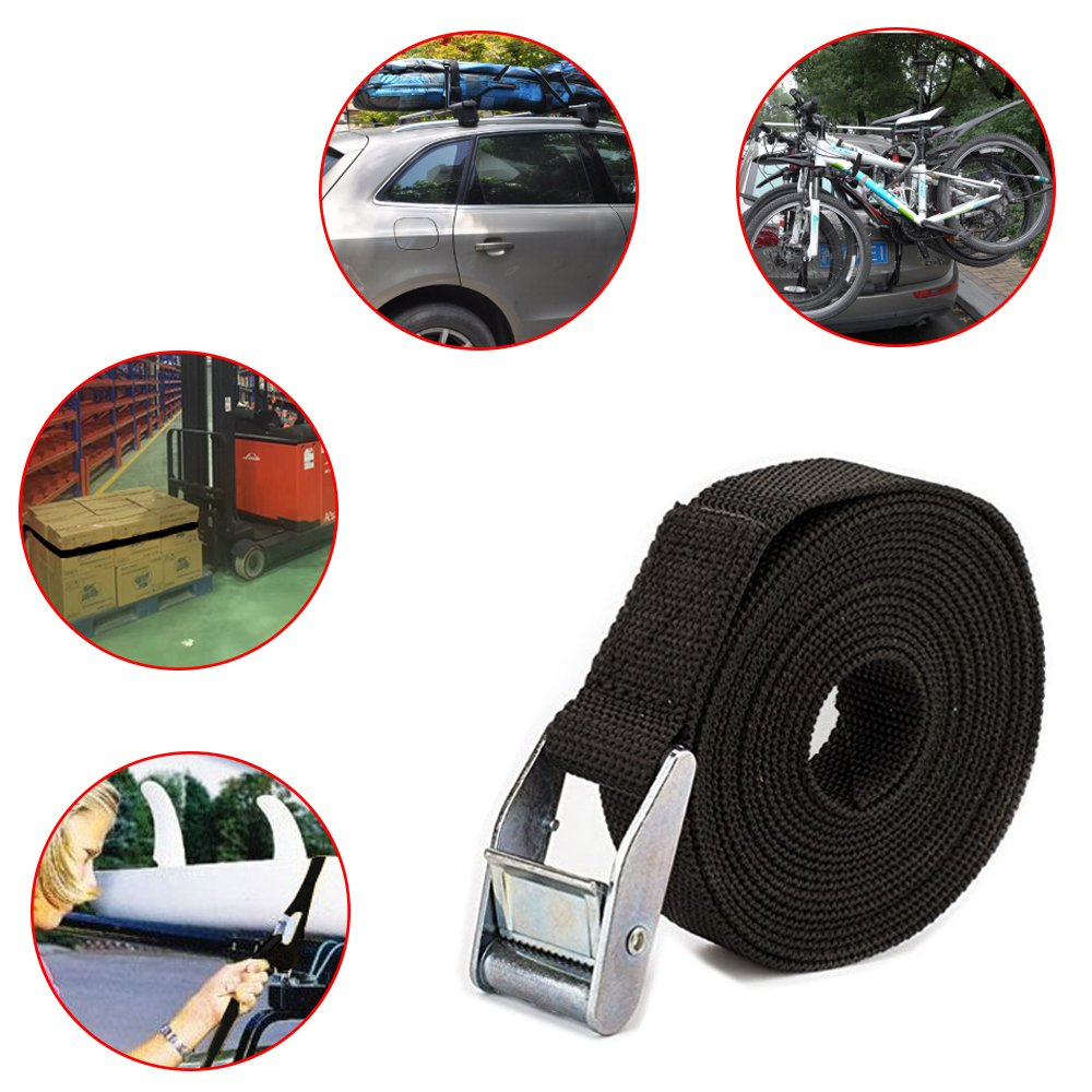 Non-Fading Cargo Ratchet Tie Down Straps and Add A Luggage Belts-Black AFUNTA 2 Pcs 13ft Lashing Straps up to 600lbs,2 Pack Adjustable Utility Strap with Quick-Release Buckle from 10.6 to 19.6