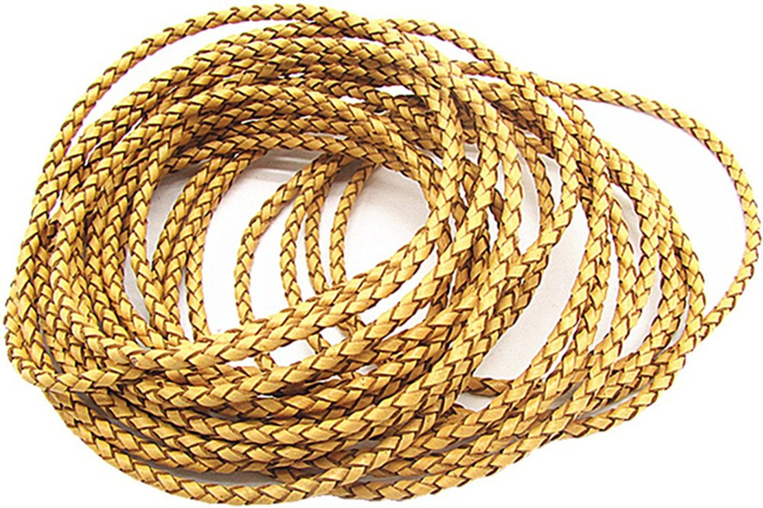White 3.0mm Braided Leather Cord Round Braided Leather Cord Leather Working Cord String Cord 5Meter