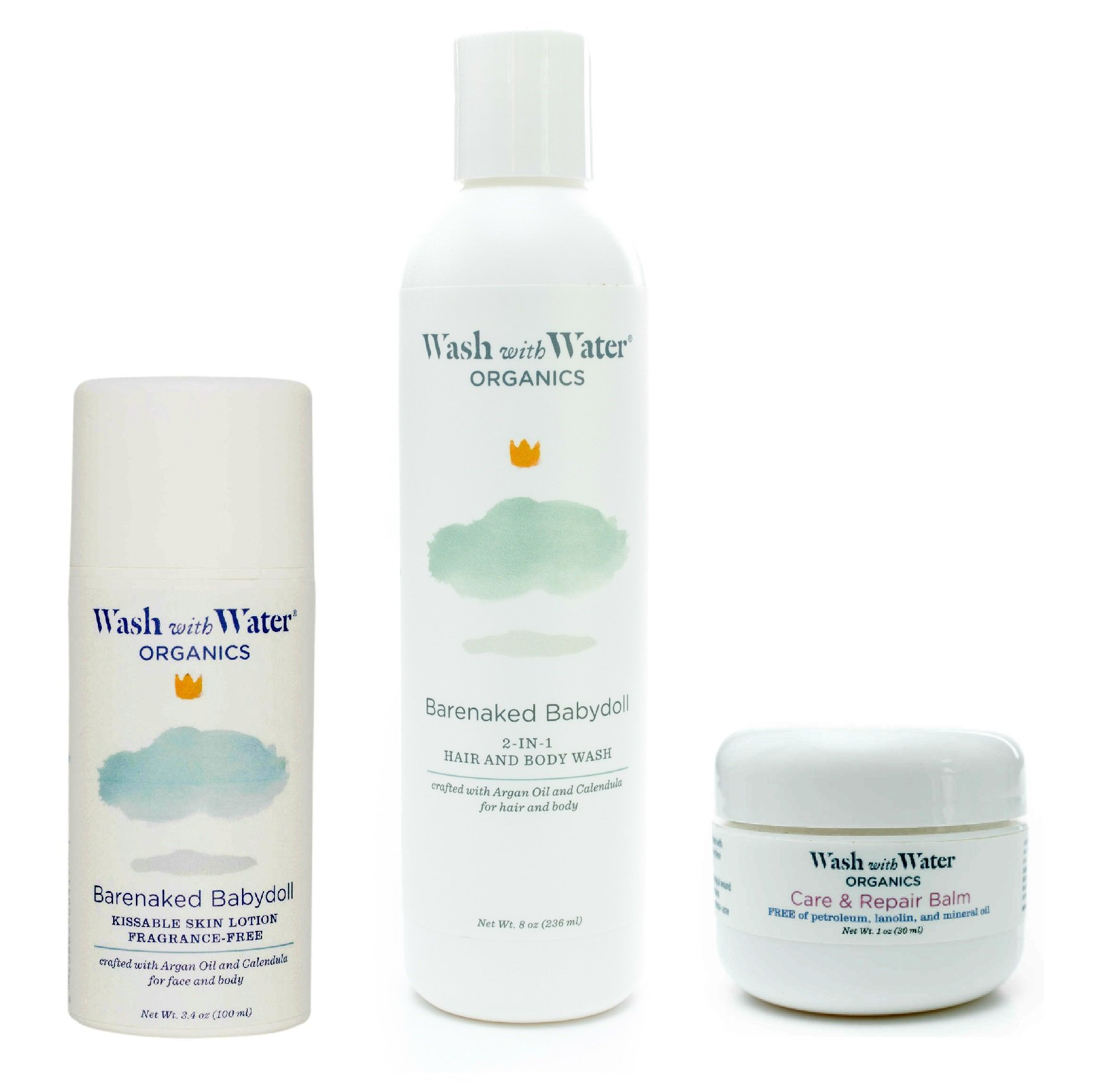 Wash with Water All Natural Organic Skin Care Bundle for Eczema, Cradle Cap + Sensitive Skin - 8oz Unscented Shampoo + Body Wash, 1oz Care and Repair Balm + 3.4oz Unscented Lotion