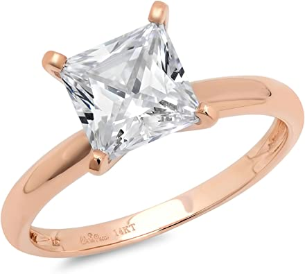 Round Cut White /& Brown Cubic Zirconia Solitaire with Accent Ring in 14K Rose Gold Over Sterling Silver