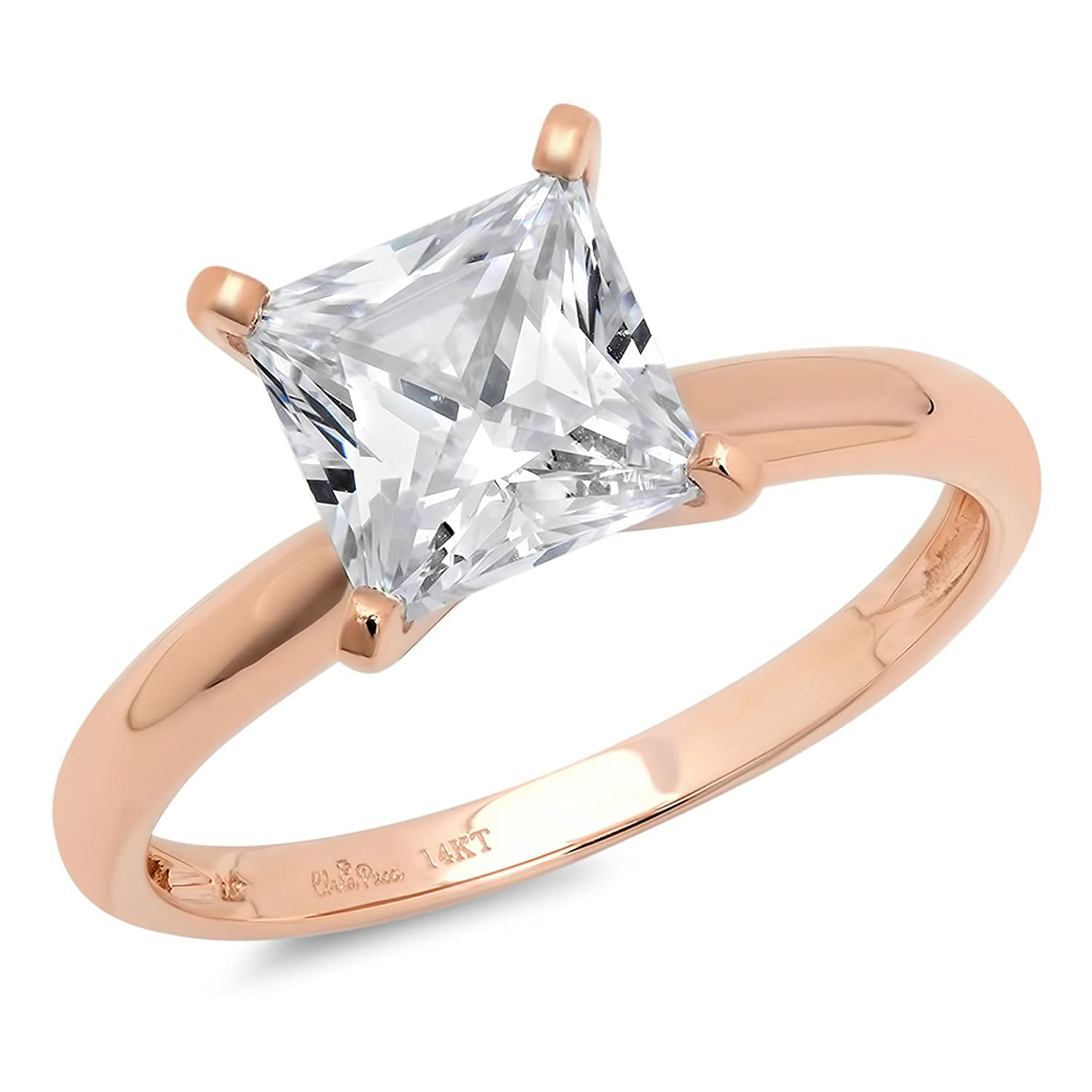 0.4ct Princess Brilliant Cut Classic Wedding Statement Anniversary Designer Bridal Solitaire Engagement Promise Ring Solid 14k Rose Gold, Clara Pucci