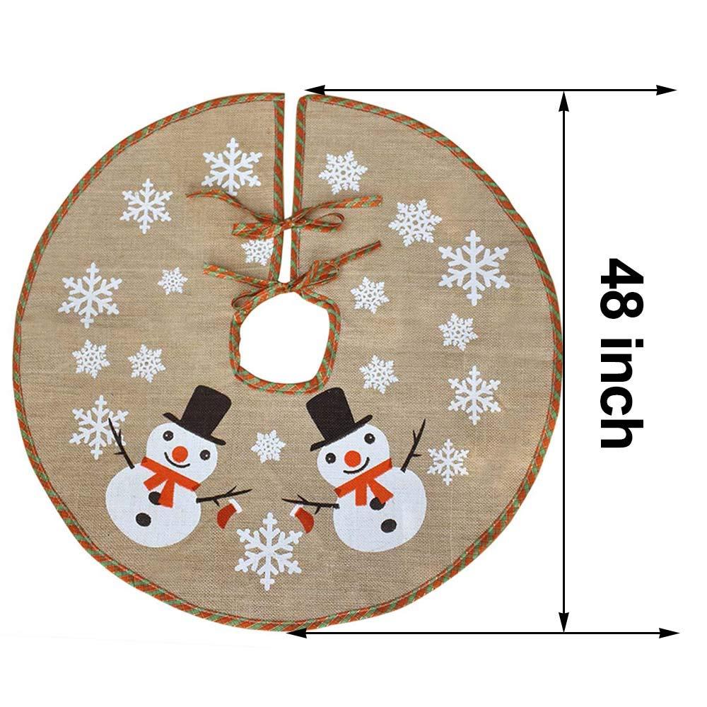 XIJIE Arpillera Copo de Nieve /Árbol de Navidad Falda 122 cm Di/ámetro Redondo Interior Alfombra Exterior Fiesta de Navidad Decoraciones navide/ñas