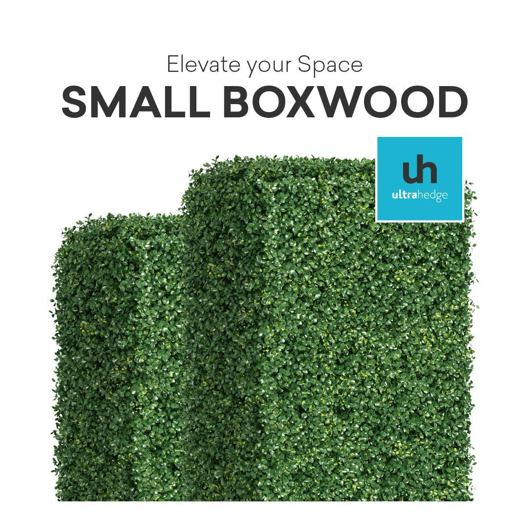 UltraHedge Small Boxwood 20 x 20 Inches Two-Toned Artificial Hedge Panels | Topiary Decorative Wall Greenery Fence Covering| Indoor Outdoor | Small Leaf Size 0.5'' x 0.37'' | 12 Pack