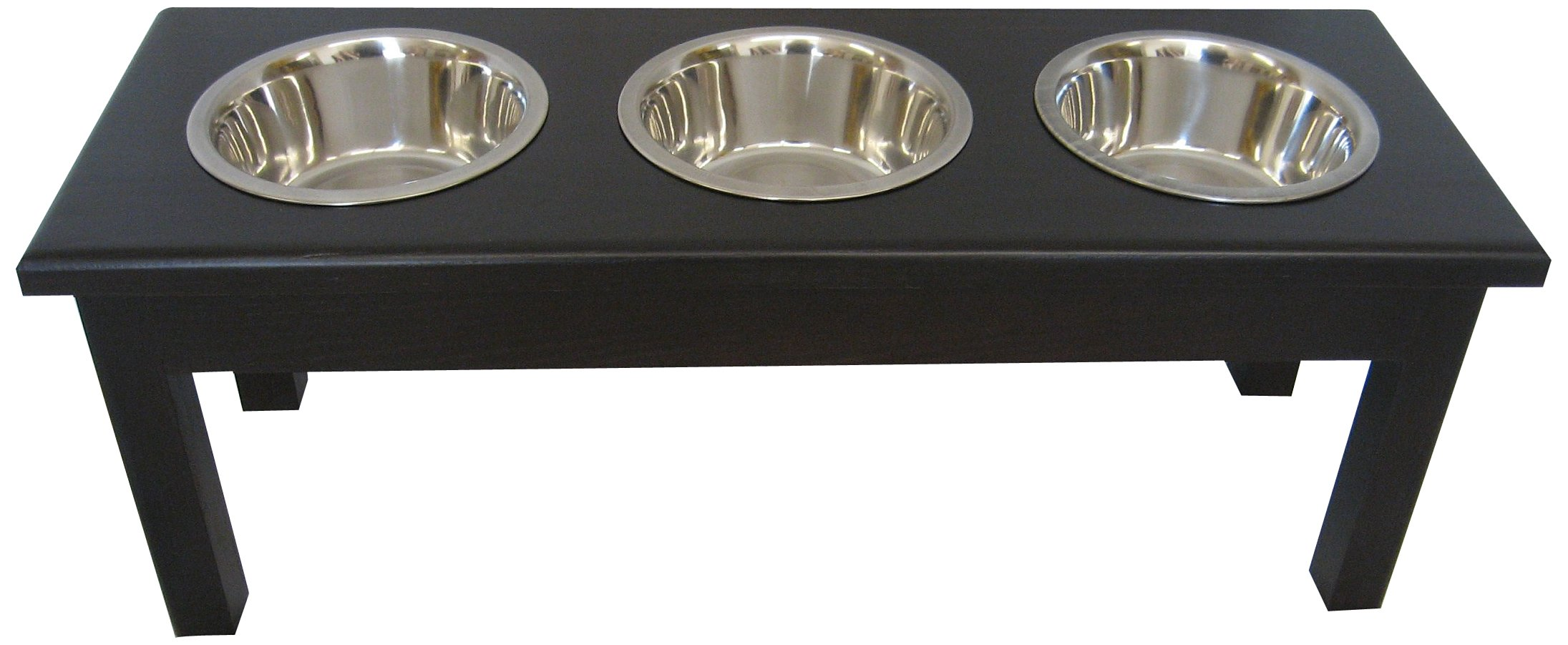 Classic Pet Beds 3-Bowl Traditional Style Ash Pet Diner, Large, Espresso