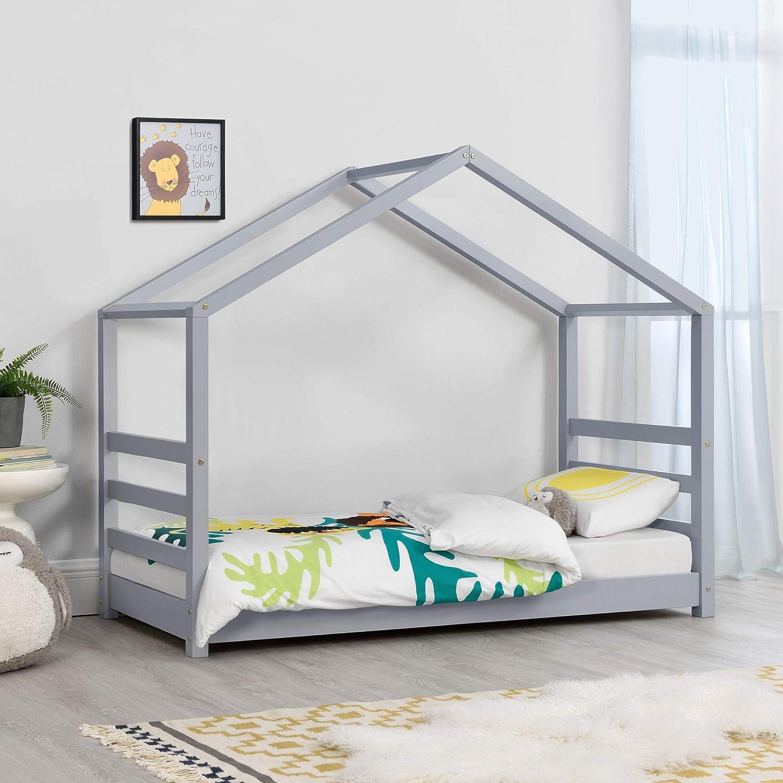 Cama para niños de Pino 160 x 80 cm Cama Infantil Forma de casa en Color Gris Lacado Mate