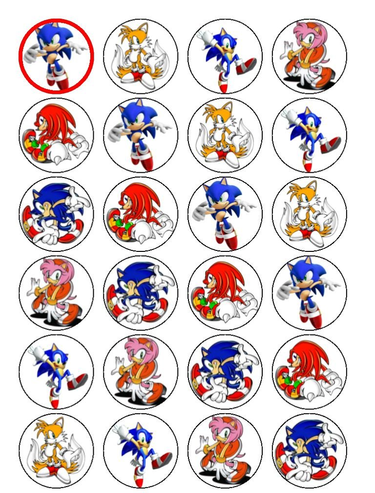 24 Sonic Cupcake Toppers