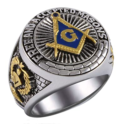 Square And Compass Masonic Blue Stone Free And Accepted Masons Ring
