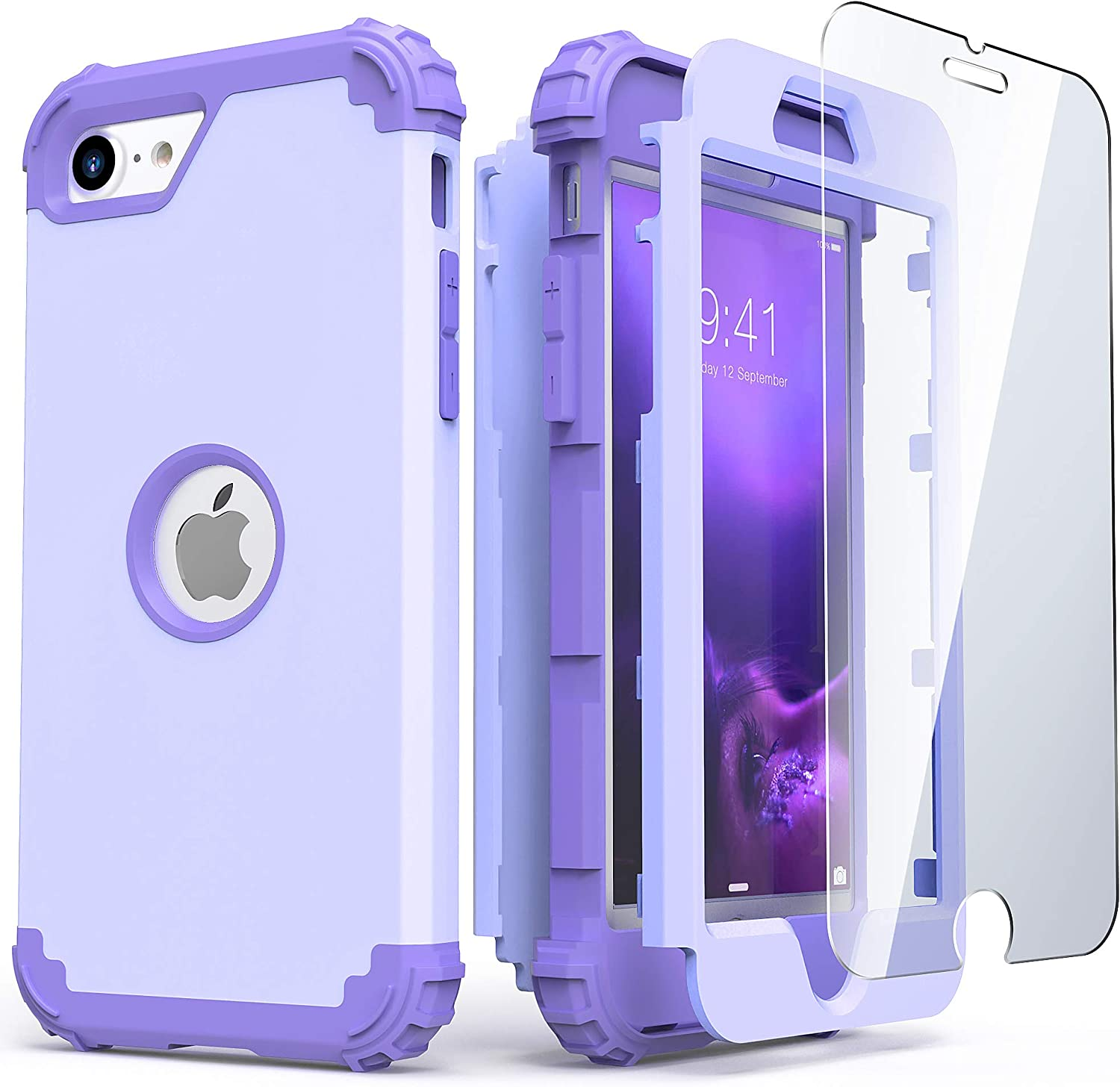 IDweel iPhone SE 2020 Case with Tempered Glass Screen Protector, Hybrid 3 in 1 Shockproof Slim Heavy Duty Hard PC Cover Soft Silicone Rugged Bumper Full Body Case for iPhone SE 2nd Gen (Purple)