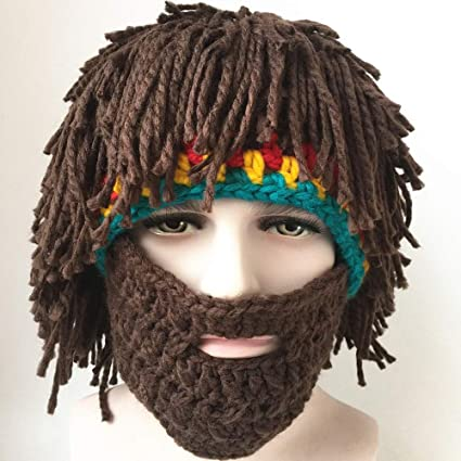 Sombrero de gran barba mascara de punto gracioso. Unisex hecho a mano de  punto sombrero a9f4178324f