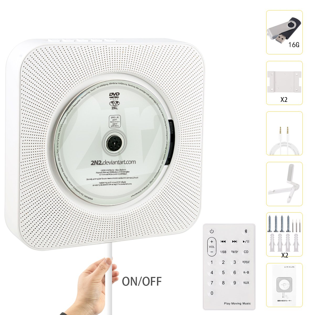 Bluetooth CD Player, Beatife Upgraded Wall Mounted Multipurpose Player HiFi Speaker Full-Band FM Radio with Remote Control USB Drive AUX in & 3.5mm Headphone Jack Support A-B Repeat with 16G U-Disk