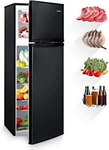 MOOSOO 7.3 Cubic Feet Refrigerator, Dual Door Mini Fridge with Top Freezer, 7 Adjustable Temperature, Removable Shelves, Ultra-Quiet, CSA Certificated, Ideal for Food and Drink Storage, Black