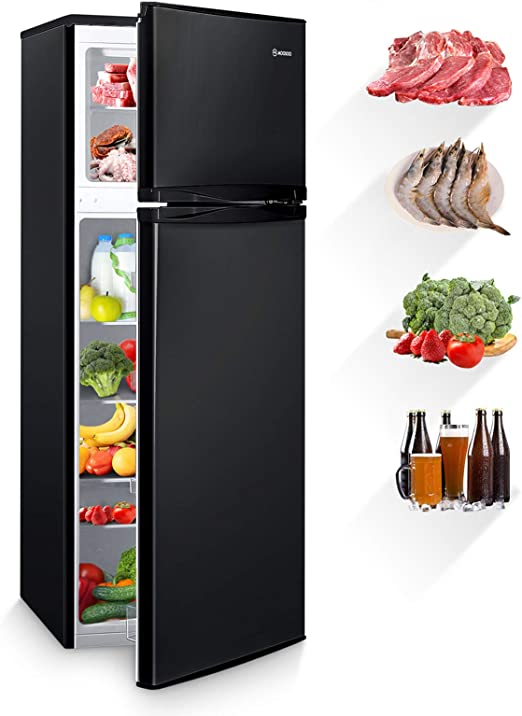 Amazon Com Moosoo 7 3 Cubic Feet Refrigerator Dual Door Mini Fridge With Top Freezer 7 Adjustable Temperature Removable Shelves Ultra Quiet Csa Certificated Ideal For Food And Drink Storage Black Appliances