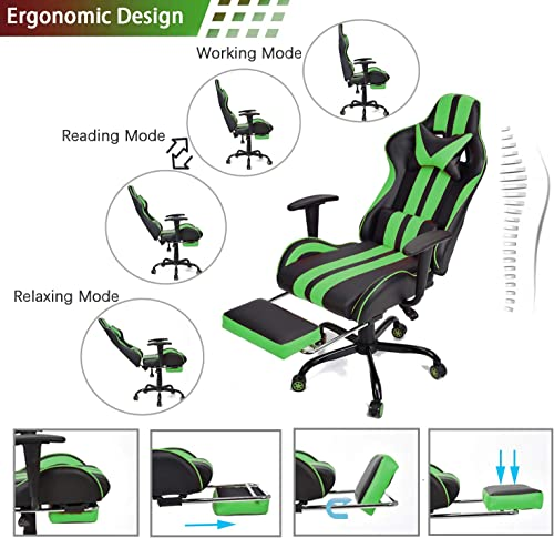 E-Sports Chair,Massage Gaming Chair,Racing Office Computer Game Chair,Ergonomic Gaming Chair,Racing Style with Adjustable Recliner and Retractable Footrest and Headrest Lumbar Pillow Gaming Green