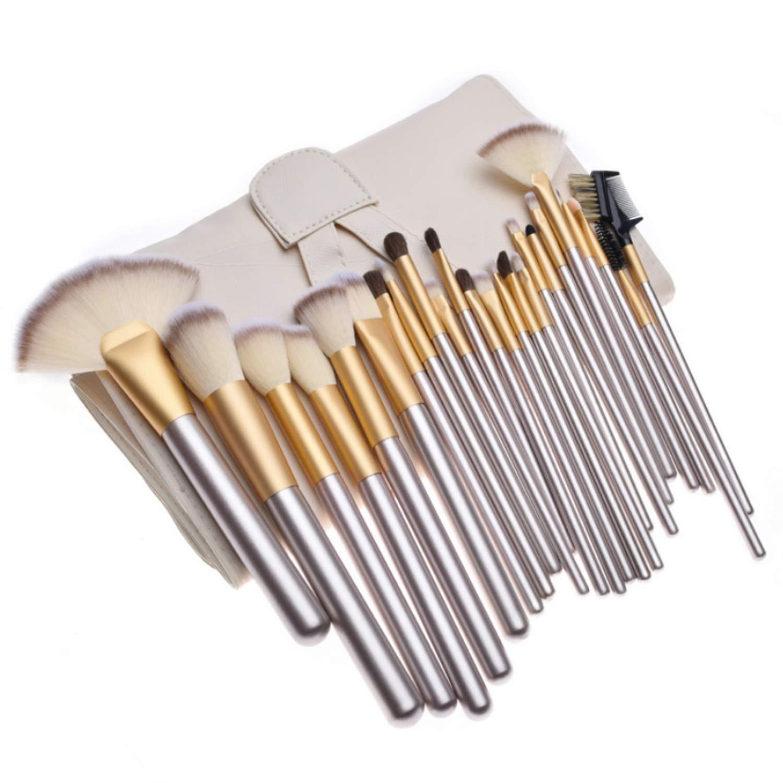 24 Champagner-Make-up Pinsel-Set. Make-up Pinsel des persischen Haares. Make-up Lidschatten Foundation Pinsel. Schönheit Make-up Pinsel-Set. Mit beige weißer Reisetasche Make-up Pinsel HDY
