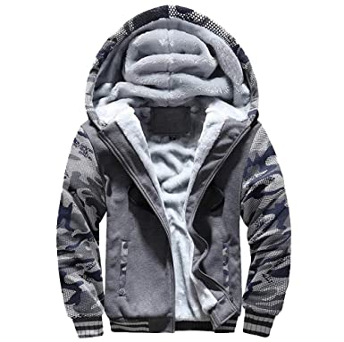 9a15f0e84 GOVOW Hoodie Sweatshirts for Men Winter Warm Fleece Zipper Sweater Jacket  Outwear Coat Tops Blouses(