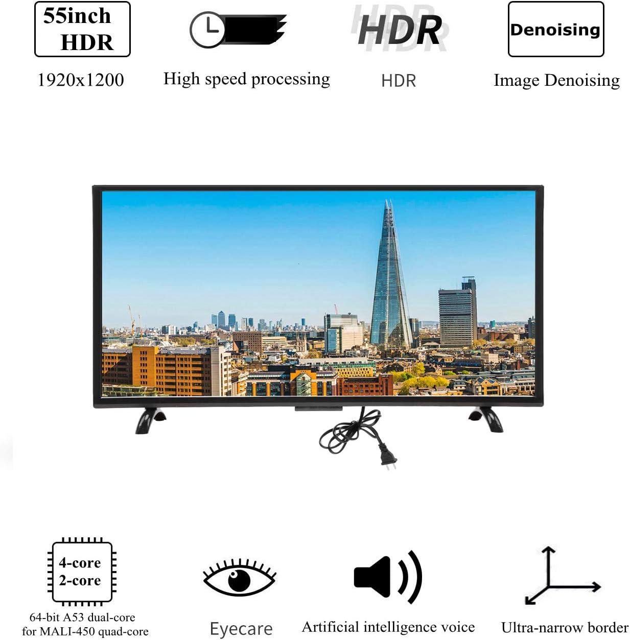 Wendry Televisor LED Inteligente HDR 4K de 55 Pulgadas, Curvatura ...