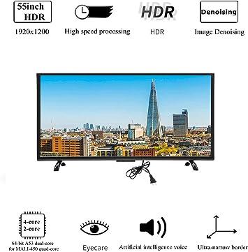 Wendry Televisor LED Inteligente HDR 4K de 55 Pulgadas, Curvatura 3000R Pantalla Curva Grande Televisor Inteligente Versión de Red Ultra HD Multifuncional Televisión LED(UE): Amazon.es: Electrónica