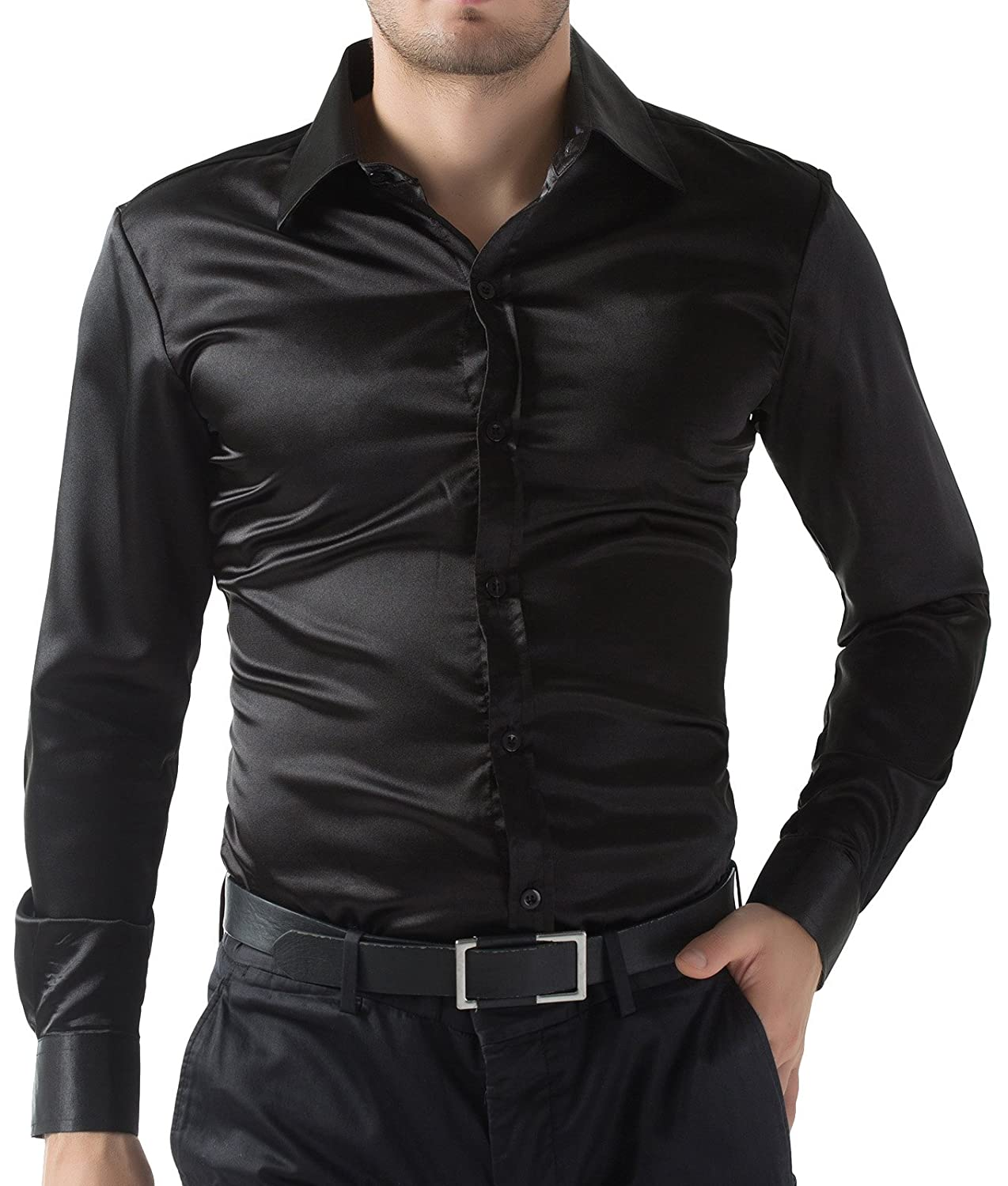 PAUL JONES Men's Slim Fit Silk Like Satin Luxury Dress Shirt at ...