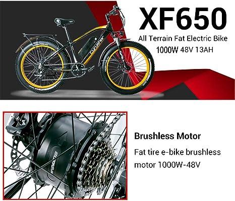 Cyrusher® Extrbici XF660 Verde Negro 48V 500 vatios Bicicleta eléctrica para Hombre de la Bici Verde de la Bicicleta de la Velocidad 7 de Las Bicicletas eléctricas del Verde: Amazon.es: Deportes y