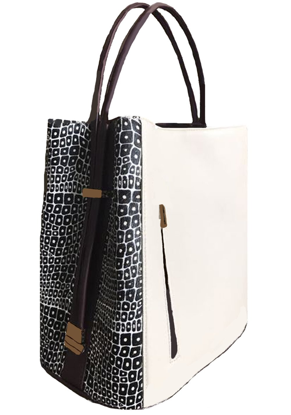 'Keva' Creme Leather with Black and Creme Haircalf Panels Handbag by Samoe Style by Samoe Style