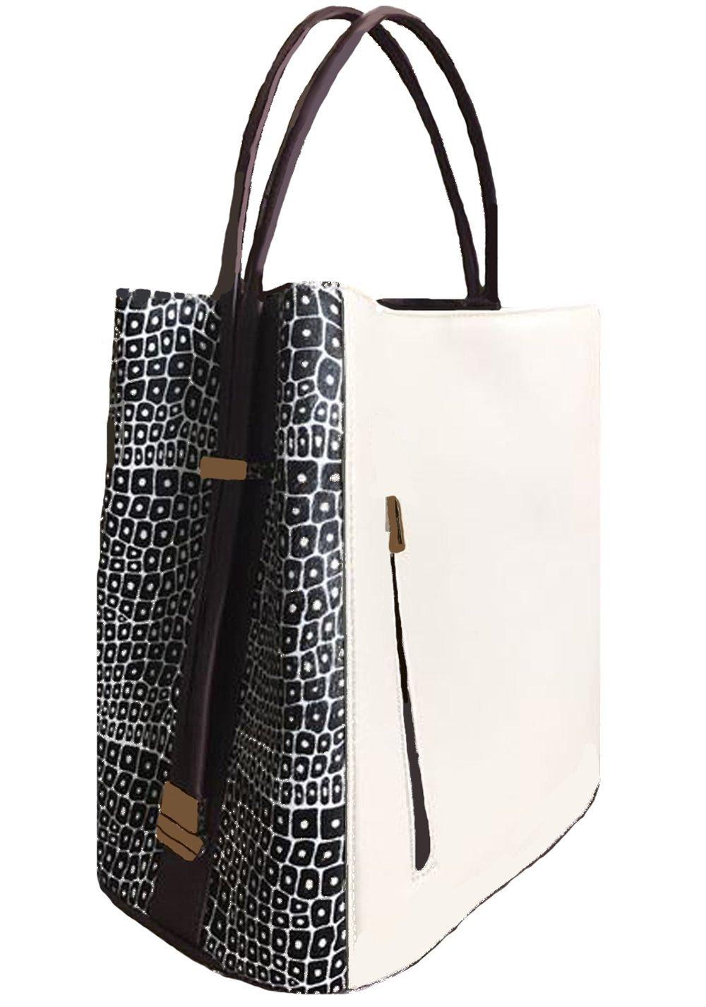 'Keva' Creme Leather with Black and Creme Haircalf Panels Handbag by Samoe Style