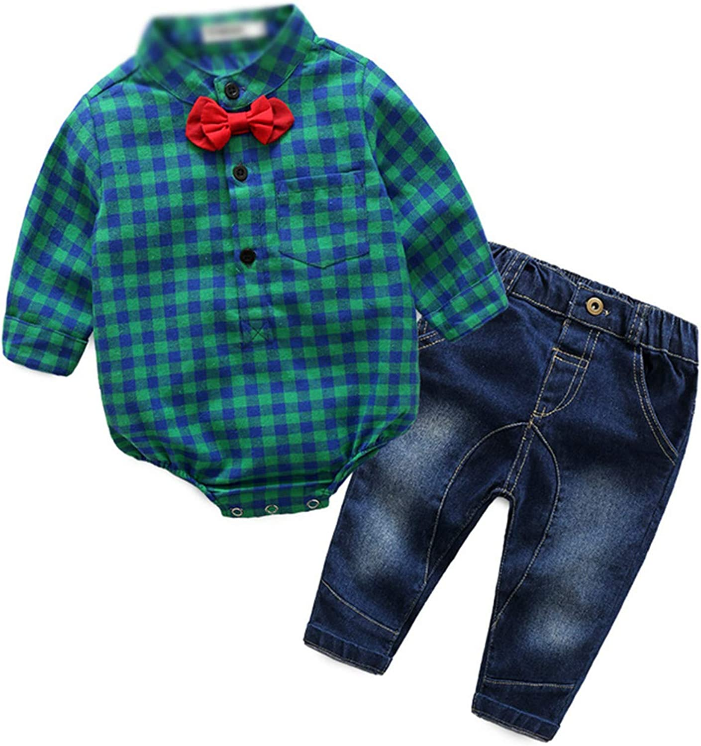 Autumn Baby boy Girl Clothes Long Sleeve Rompers Shirts+Jeans Baby Boys Clothes Baby Clothing Set