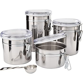 stainless steel canister sets kitchen amazon com kitchen canisters stainless steel beautiful canister sets for kitchen counter 4 849