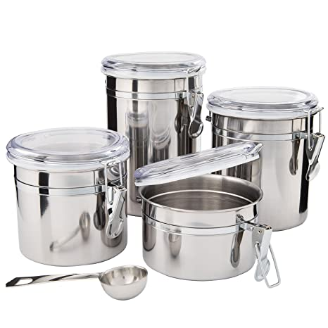kitchen canisters stainless steel beautiful canister sets for kitchen counter 4 piece small - Kitchen Canister Sets