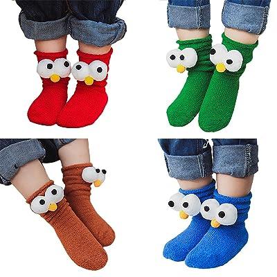 4 Pack Baby Girls Boys Toddler Cute Cartton Coral Velvet Crew Socks