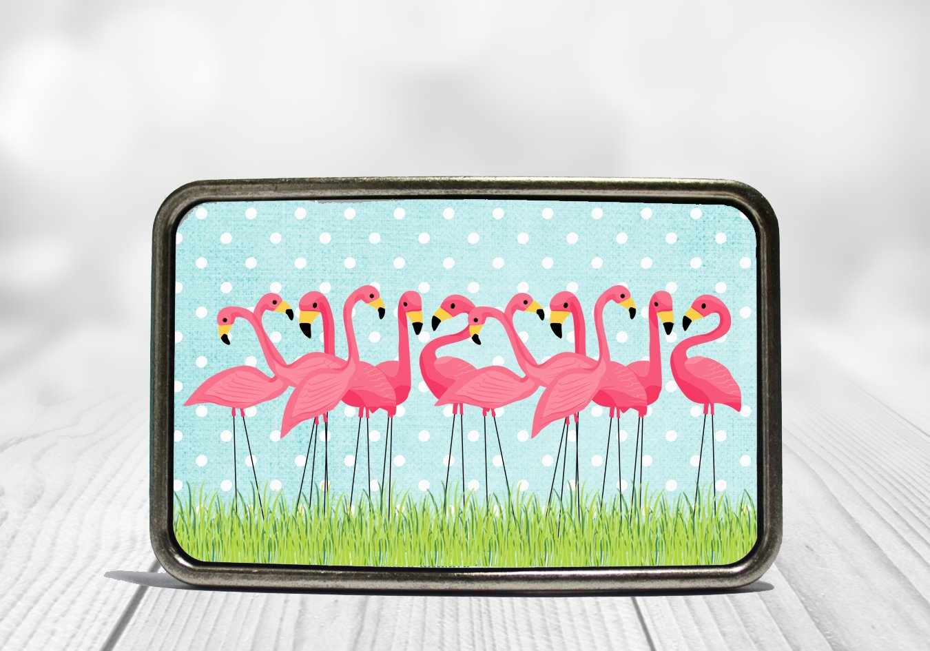 Pink Flamingo Flock Belt Buckle