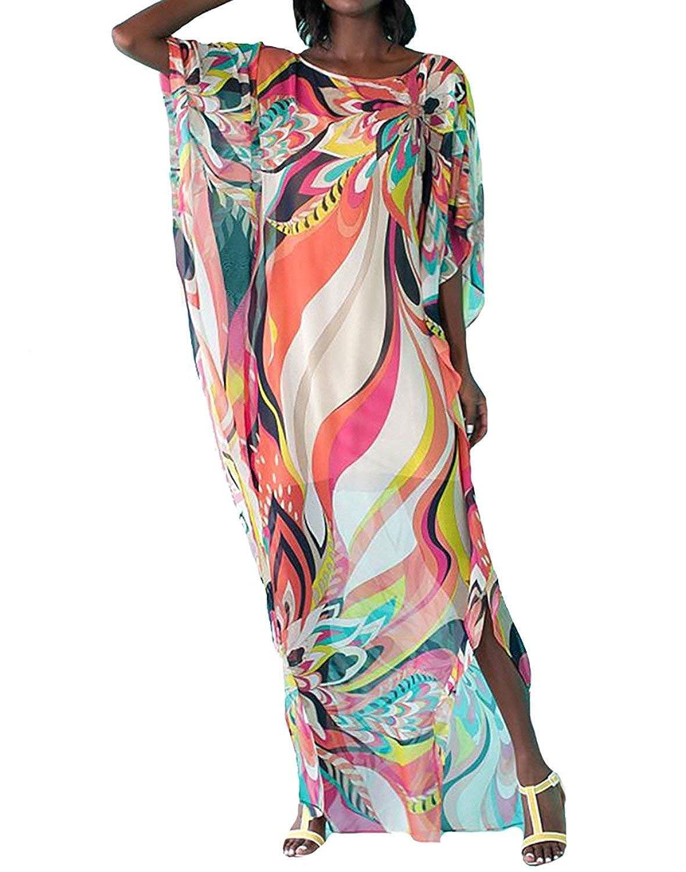RanRui Women's White Ethnic Print Kaftan Maxi Dress Summer Beach Dress