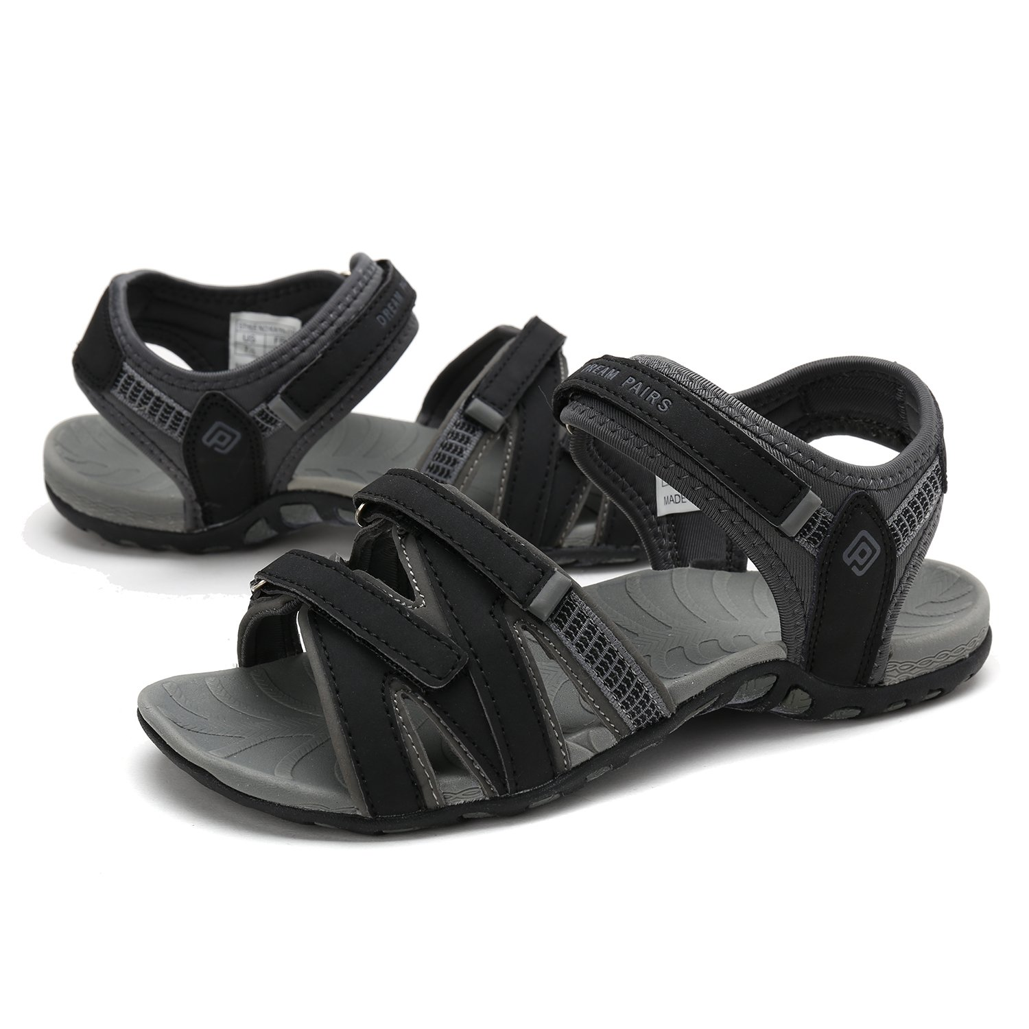 DREAM PAIRS Women's 6.5 160912-W Adventurous Summer Outdoor Sandals B0789MG81C 6.5 Women's B(M) US|Black/Grey 3f3700