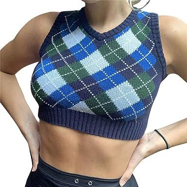 Cropped Argyle Plaid Knit Sweater Vest Y2K Streetwear