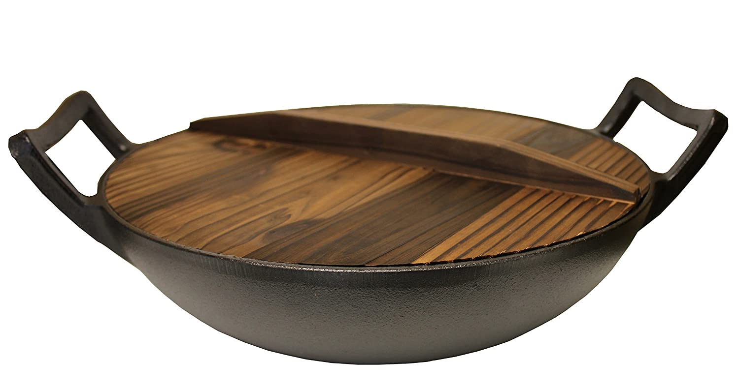 "Kasian House Cast Iron Wok, Pre-Seasoned with Wooden Lid 12"" Diameter and Large Handles, Stir Fry Pan"