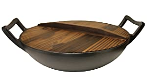 """Kasian House Cast Iron Wok, Pre-Seasoned with Wooden Lid 12"""" Diameter and Large Handles, Stir Fry Pan"""