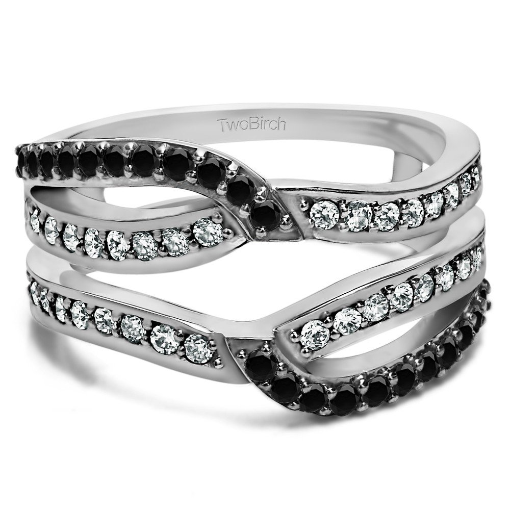 0.39 Ct Twt Black And White Cubic Zirconia Infinity Wedding Ring Guard Enhancer set with Black And White Cubic Zirconia (2/5 CT) by TwoBirch