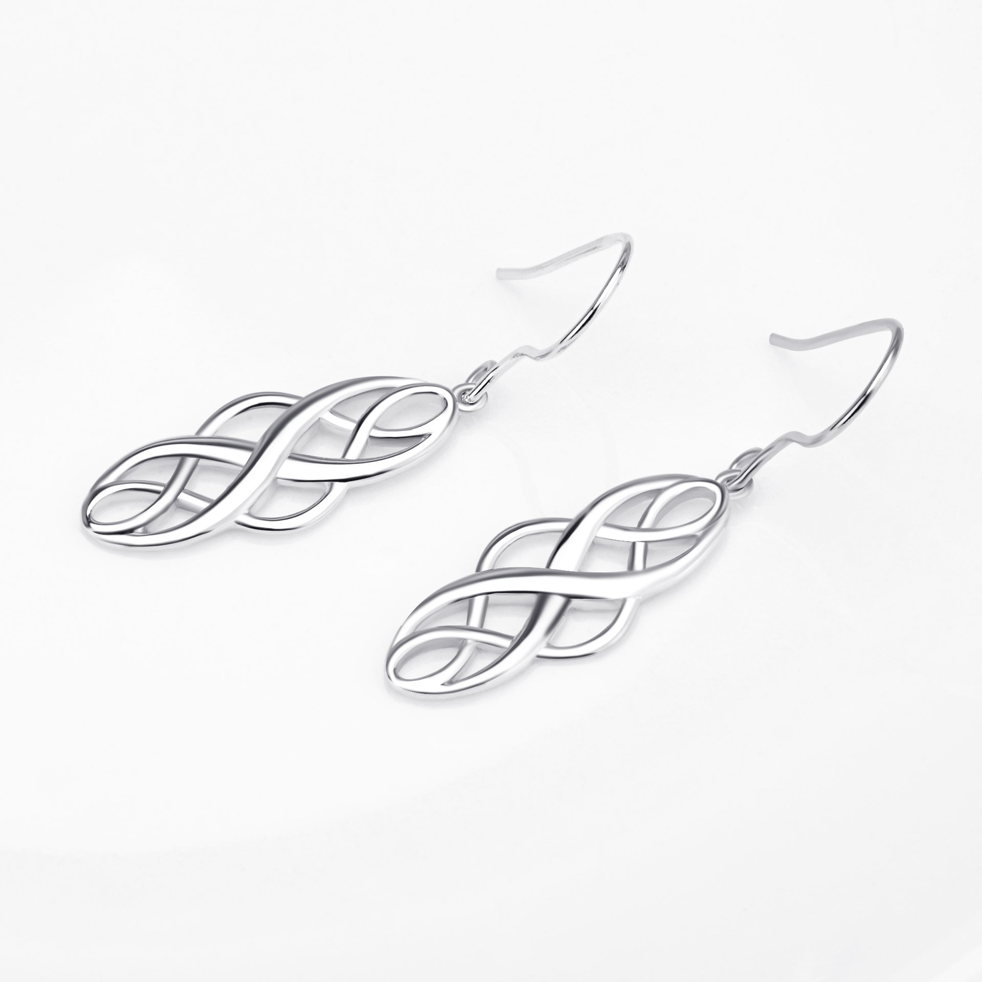 S925 Silver Earrings Solid Sterling Silver Polished Good Luck Irish Celtic Knot Vintage Dangles (Platinum) by Angel caller (Image #4)